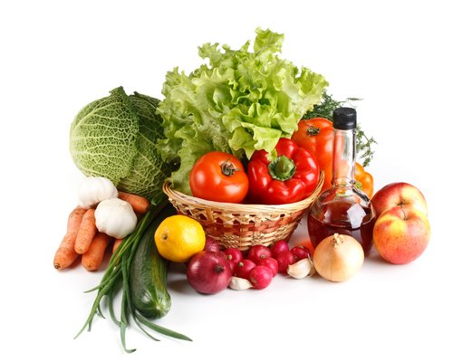 Vegetables and fruit shown as options for healthy eating.